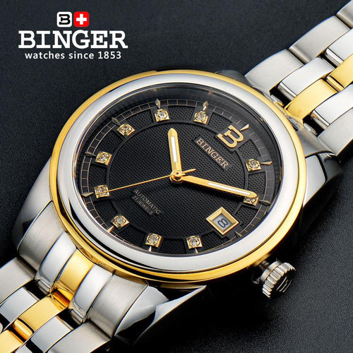2017 Switzerland Wristwatches BINGER 18K gold watches men luxury top brand self-wind automatic Wristwatches B5010-2
