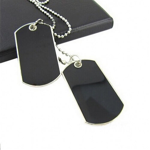 Army Style Black 2 Dog Tags Chain Beauty Mens Pendant Necklace