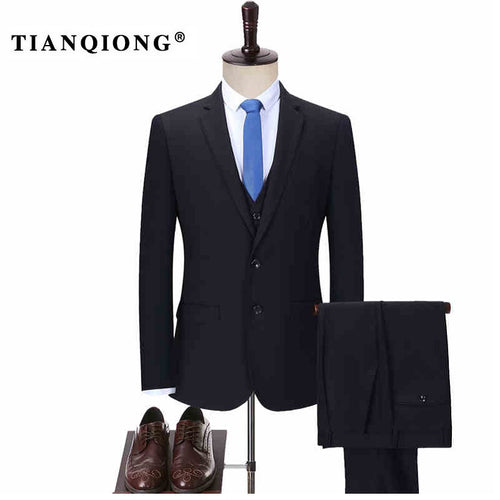 TIAN QIONG Men Tailor-made Business Suit Slim Fit Classic Male Suits Blazers Luxury Suit Men Two Buttons Suit (jacket+pants+Vest)