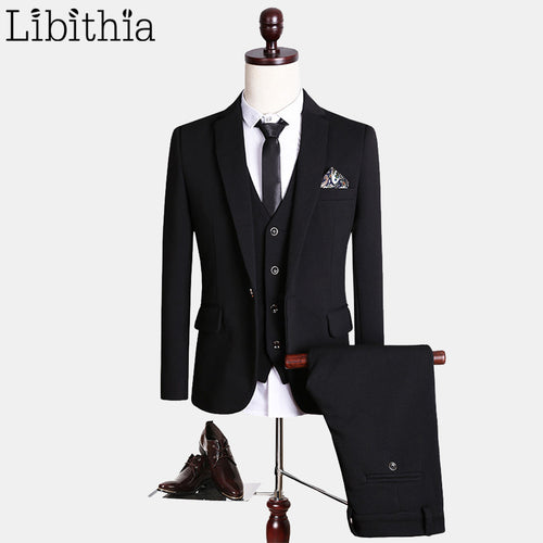 (Jacket+Pant+Vest) Luxury Black Suits Men High Quality Fashion Brand Formal Blazer Costume Homme Wedding Dress Big Size 5XL S154