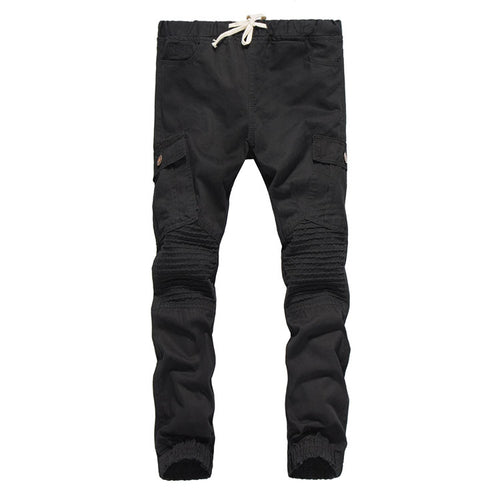 Brand Male New Fashion 2017 Slim Cotton Shredded Shirt Side Bag Wrinkle Pants Casual Pants Man Trousers Designer Mens Joggers
