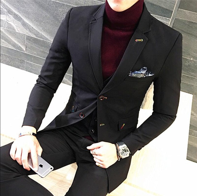 ( Jacket+ Vest+ Pants) New Spring Brand Men's Slim Fit Business 3piece Suits Male Good Groom Wedding Dress Blue Men Blazers