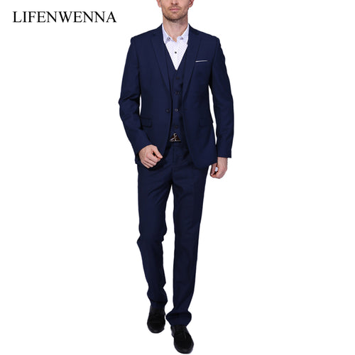 2018 New Men Suits One-Buckle Brand Suits Jacket Formal Dress Men Suit Set Men Wedding Suits Groom Tuxedos (Jacket+Pants+Vest)