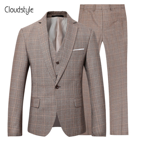 Cloudstyle 2018 Male Suit Jacket Pants Vest Single Button Blazers Formal Business Wedding Dress Groom for Calm Business Cool Men