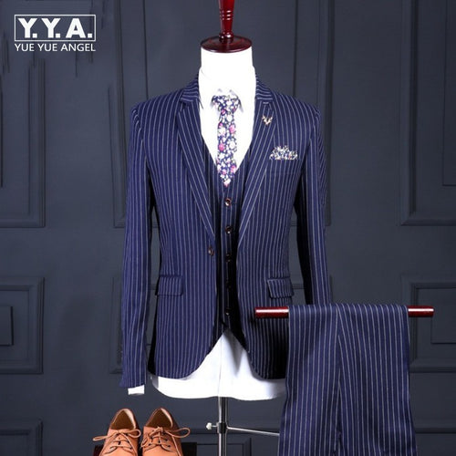 Men Italian Luxury Bridegroom Wedding Dress Jacket+Vest+Pants Party Suits Striped Formal Office Work Business Man Blazer Sets