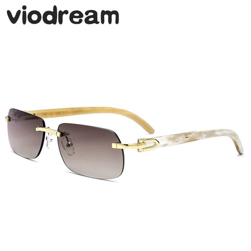 Viodream Luxury Vintage Pure Natural Horn glasses frames Polarized lenses Sun glasses Rimless Retro Men Sunglasses Oculos De Sol
