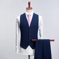 Men 3 Pieces Two Buttons Luxury Suits Casual Slim Fit Jacket Pant Vest Classic Solid Color Luxury Big Size S-4XL Clothes F117