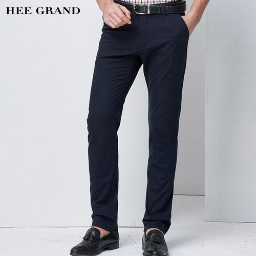 HEE GRAND Men Full Length Thin Casual Pants 2018 New Arrival Straight Basic Style Summer Breathable Slim Fitted Trousers MKX1307