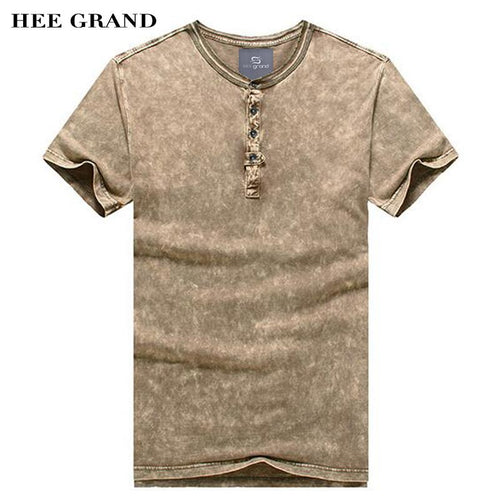 HEE GRAND Men Short Sleeve T- Shirts 2018 New 100% Cotton Breathable Material Casual Slim Fitted Solid Men Top Tees