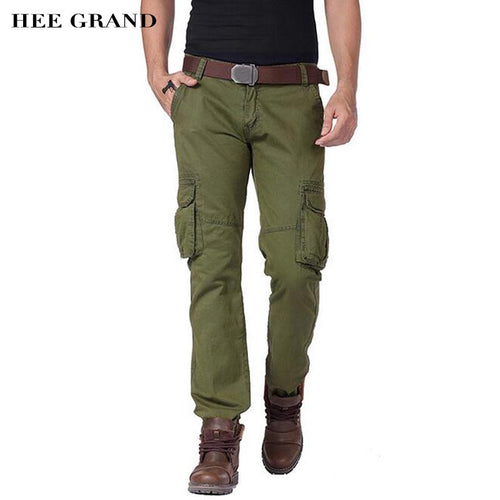 HEE GRAND Men Cargo Pants 2018 New Arrival 100% Cotton Material Multi-Pockets Design Casual Male Spring Autumn Pants MKX1355