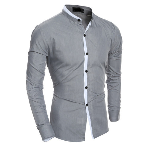 2018 Fashion Mens Autumn Winter Long Sleeves Casual Shirt Slim Fit Formal Dress Shirts Front Buttons Stylish Tops