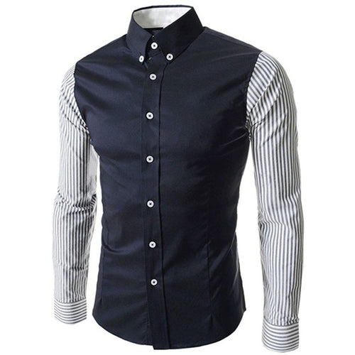 2018 Luxury Cotton Dress Shirts High Quality Mens Buttons Down Casual Shirt Men Slim Fit Social Shirts Male Lapel Top