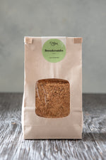 toasted gluten free breadcrumbs 500g in paper window tin tie bag with Origin Bakery sticker