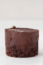 single gluten free Vegan Ganache chocolate cupcake, unwrapped