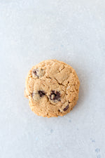 gluten free peanut butter chocolate chip cookie sea salt garnish