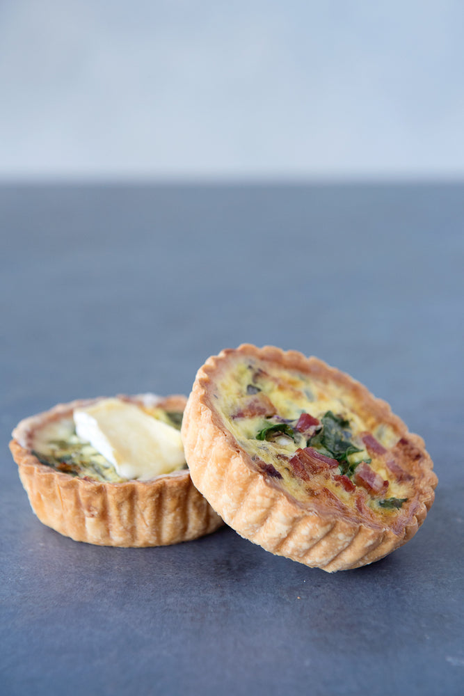 Load image into Gallery viewer, 2 gluten free quiche, bacon & cheddar, spinach & brie