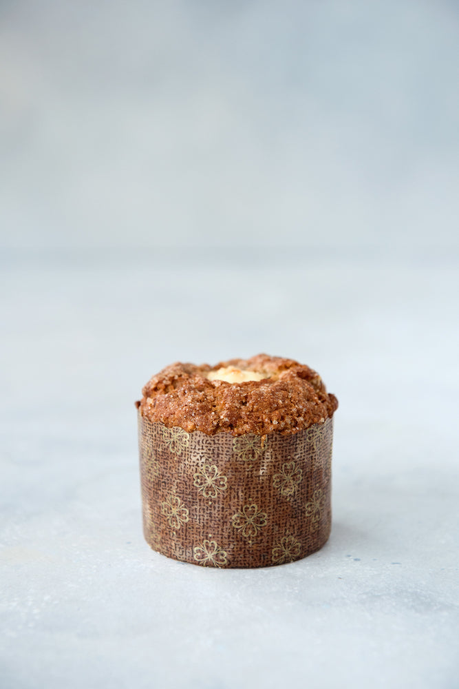 gluten free muffin in panettone wrapper