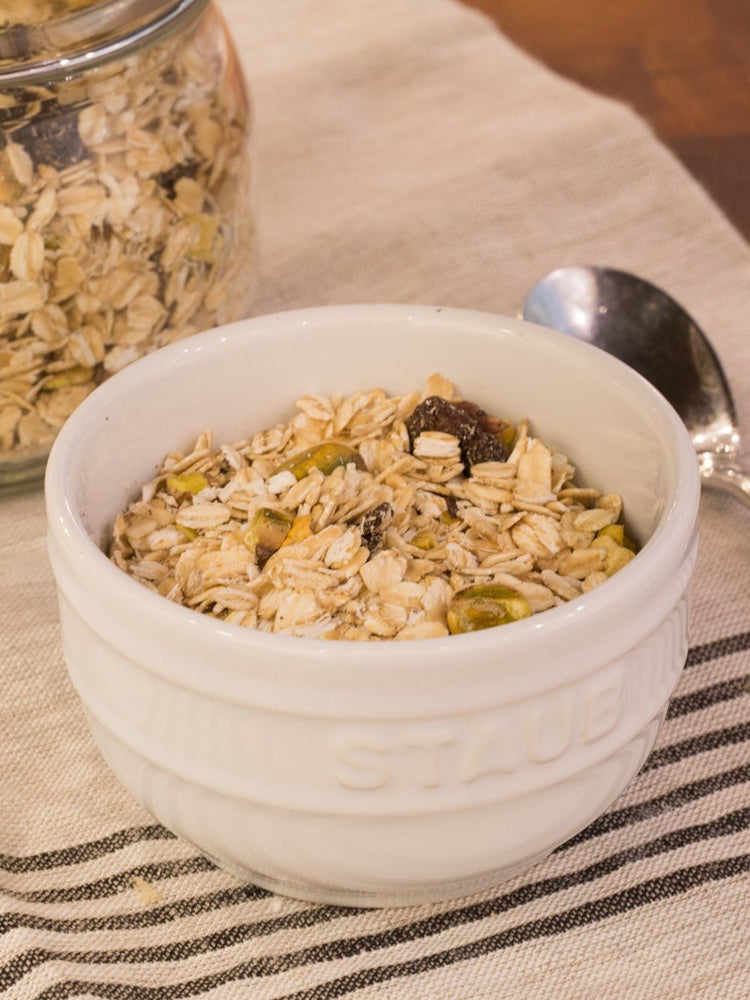 gluten free muesli in a white bowl