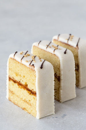Load image into Gallery viewer, 3 slices gluten free almond pound with marzipan & chocolate drizzle cake slices