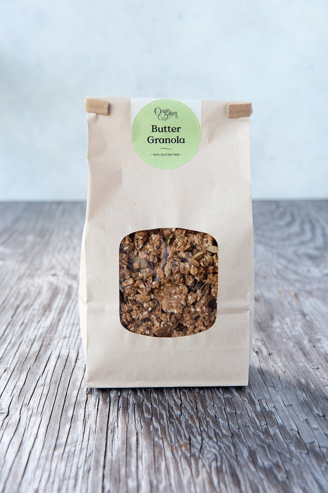 gluten free granola 500g in paper window tin tie bag with Origin Bakery sticker