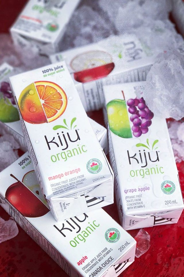 Kiju organic juice boxes mango orange, grape apple, apple