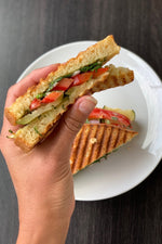 gluten free dairy free vegetarian panini cut in half, hand holding one half above plate, hummus peppers red onion pesto zucchini