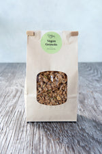 gluten free vegan granola 500g in paper window tin tie bag with Origin Bakery sticker