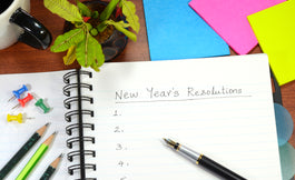 New Year's Resolutions List on desk