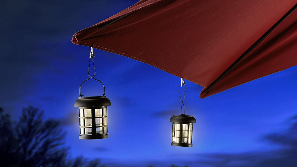Light up your pool party with Solar Umbrella Lanterns.