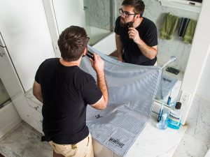 No more mess in the bathroom! Beard Mat keeps your sink super clean.