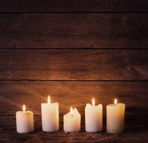 Burn candles in the winter for a cheery glow.