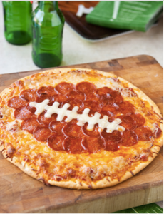 learn how to make a pizza that looks like a football for your tailgating party