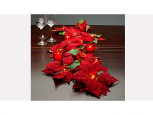 Dress up your table top with the Poinsettia Lighted Garland