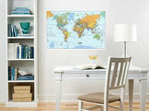 Older kids can travel the world with the dry erase Wallpops map.