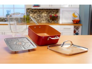 Red Copper Square pan has high sides and is non stick!