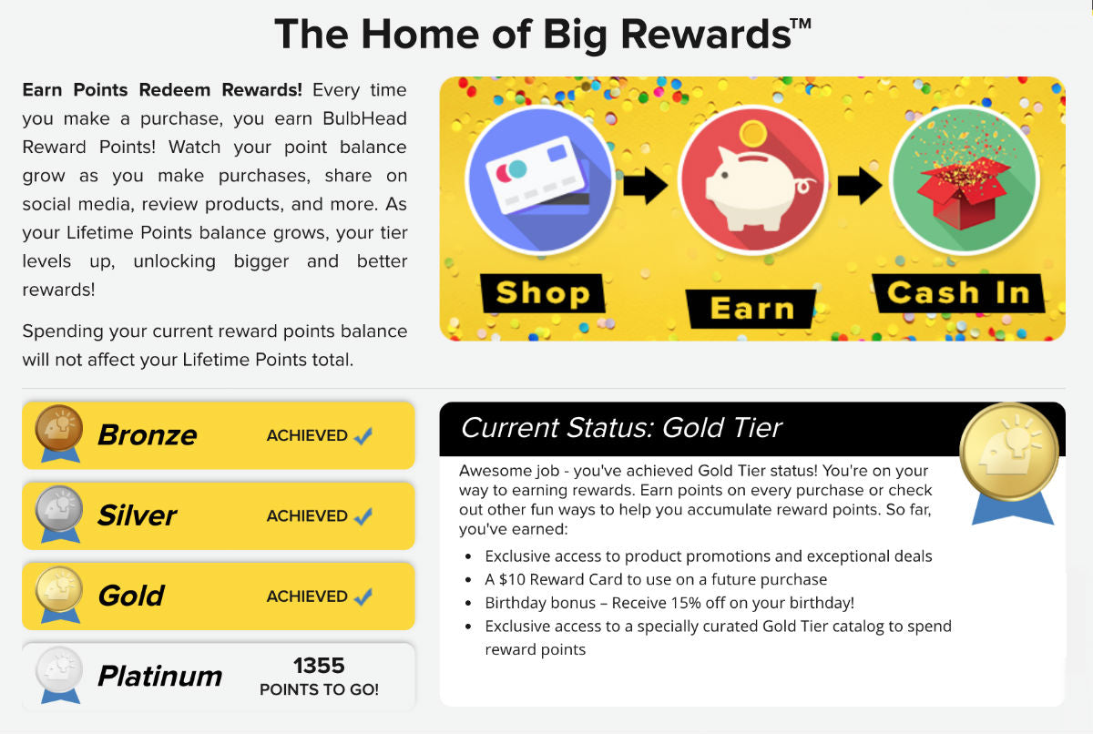 BulbHead Rewards Dashboard