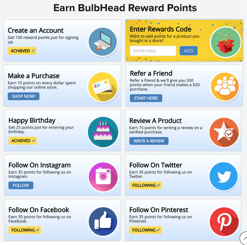 Earn Points Dashboard BulbHead Rewards