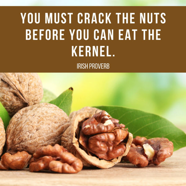 You must crack the nuts before you can eat the kernel