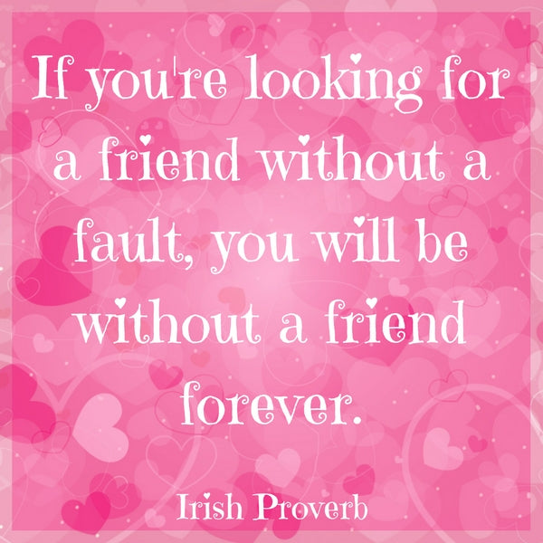 If you're looking for a friend without a fault, you will be without a friend forever.