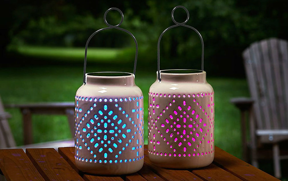 Colorful ceramic lights make any backyard pop