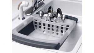 Save counterspace with this dish drainer