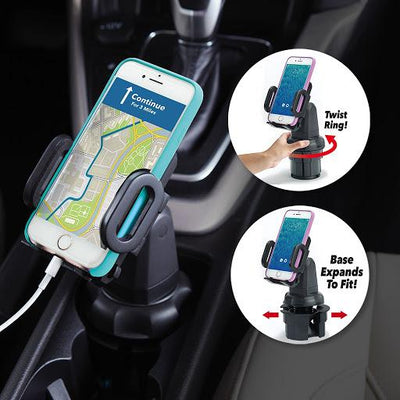 Cup call holding cell phone in cup holder in car with 2 white circles that contain cup call product and features and benefits