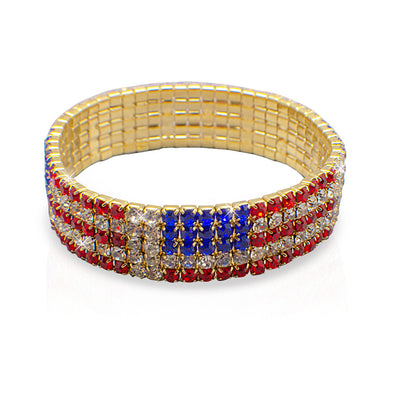 American Flag Crystal Stretch Bracelet