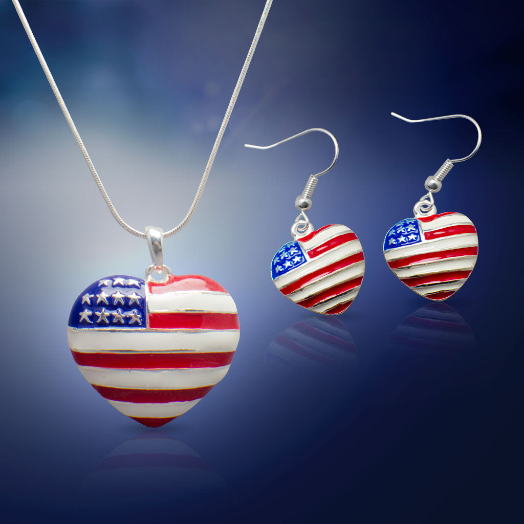 American Flag Pendant Necklace and Earrings Set