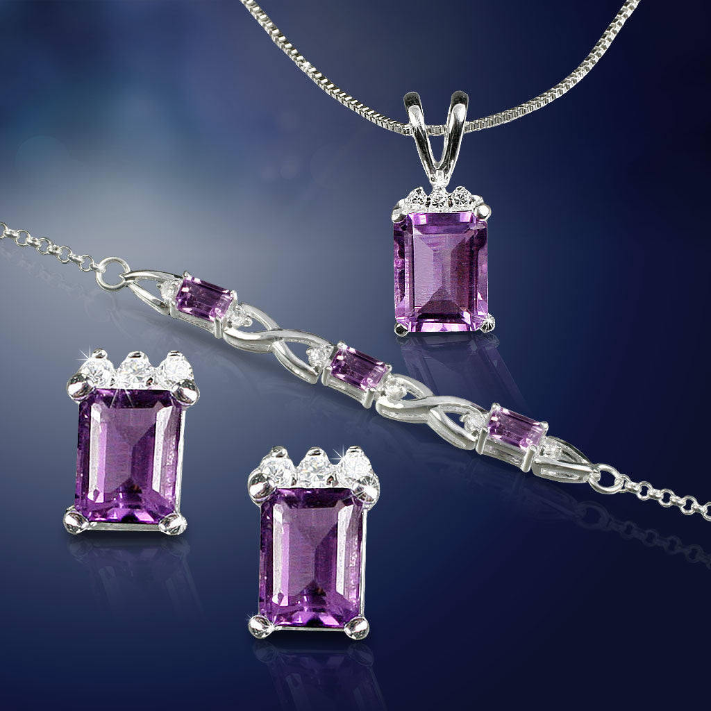 Emerald-Cut Amethyst Set