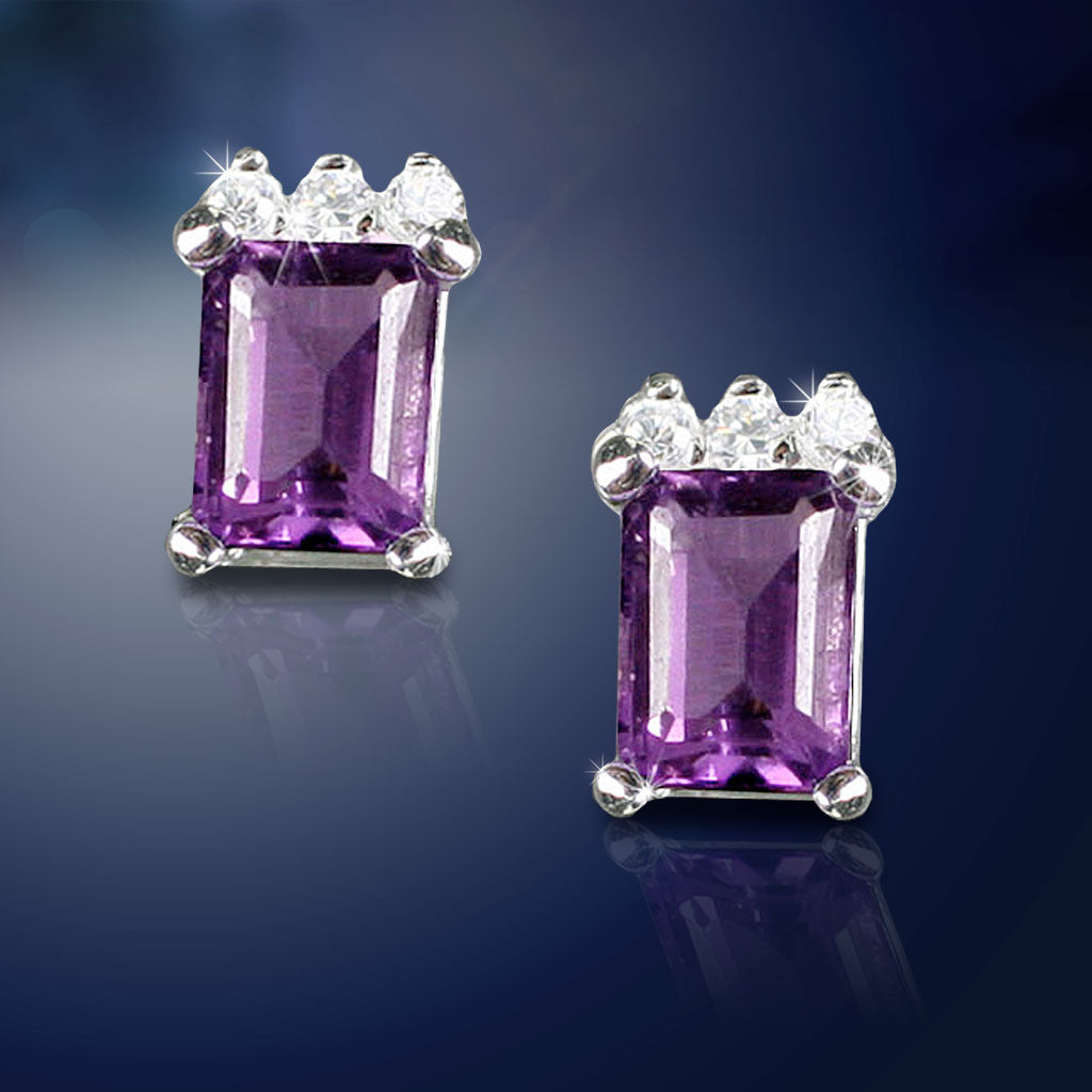 Emerald-Cut Amethyst Earrings