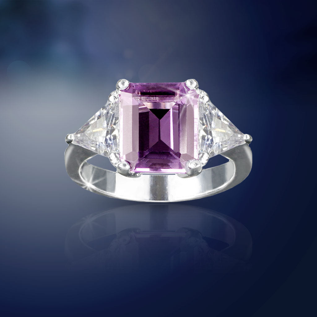 Emerald-Cut Amethyst Ring