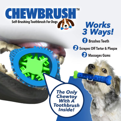 "Product name in top left corner, a small dog holding a Chewbrush in its mouth,a dog's mouth chewing on a Chewbrush, includes text ""Works 3 Ways!"", Brushes Teeth"", ""Scrapes Off Tartar & Plaque"", ""Massages Gums"", ""The Only Chewtoy With A Toothbrush Inside!"""