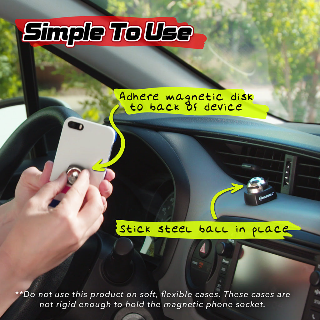 Simple to use image showing how to apply the FastBall on the phone and the ball on the dashboard