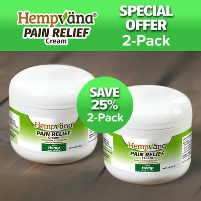 "Two jars of Hempvana Pain Relief Cream, includes the text ""Save 25% 2-Pack"" and ""Special Offer 2-Pack"", brand logo with product name"